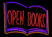 Open Book neon sign