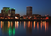 Portland, Oregon waterfront at night