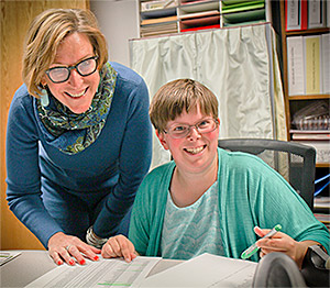 Supervisor Martha Hinman (left), with Katie Aljets, secretarial assistant for the Redmond School District.