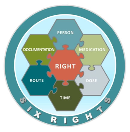 Visual representation of the Six Rights: Person, Medication, Dose, Time, Route and Documentation