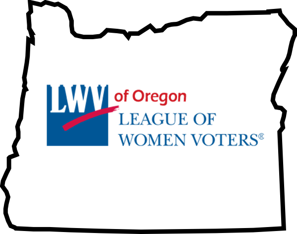 outline of Oregon with League of Women Voters logo inside