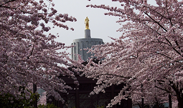 Oregon capitol building in spring