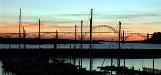 picture of an Oregon bridge and sunset