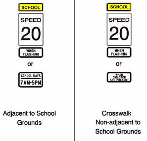 Image of current school zone sign types