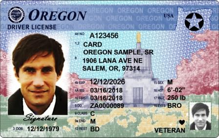 Oregon Real ID driver license sample