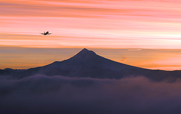 Mt Hood with Plane taking off