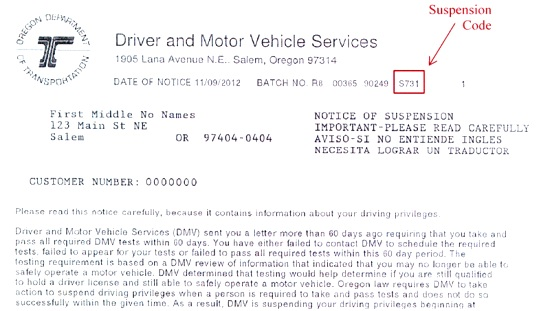 Oregon department of transportation notice information for Driver license motor vehicle record