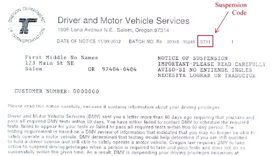 Oregon department of transportation notice information for Motor vehicle service notification