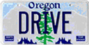 Oregon license plate with the word DRIVE