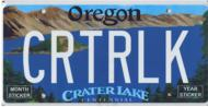 Custom Crater LakeLicense Plate