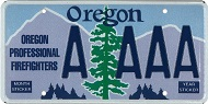 Oregon Professional Firefighters License Plate