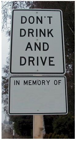 Drinking and driving memorial sign blank
