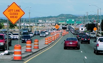 ODOT uses traffic control methods, like signs and cones, to direct traffic through work zones