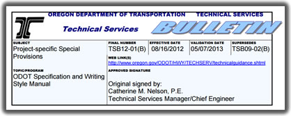 Screenshot of a Technical Bulletin