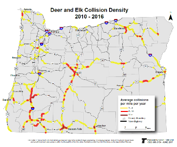 Map of deer and elk collision locations on Oregon highways
