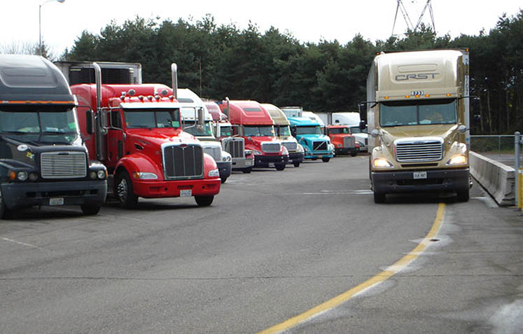 Photo of parked trucks lined up near Woodburn Oregon.