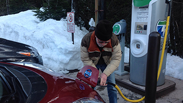 Charging a car at Mt. Hood Meadows