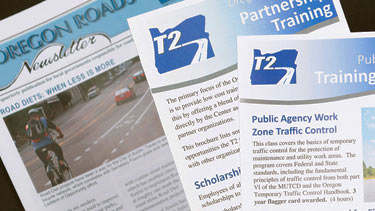 Technology Transfer Center class pamphlets and Oregon Roads Newsletter