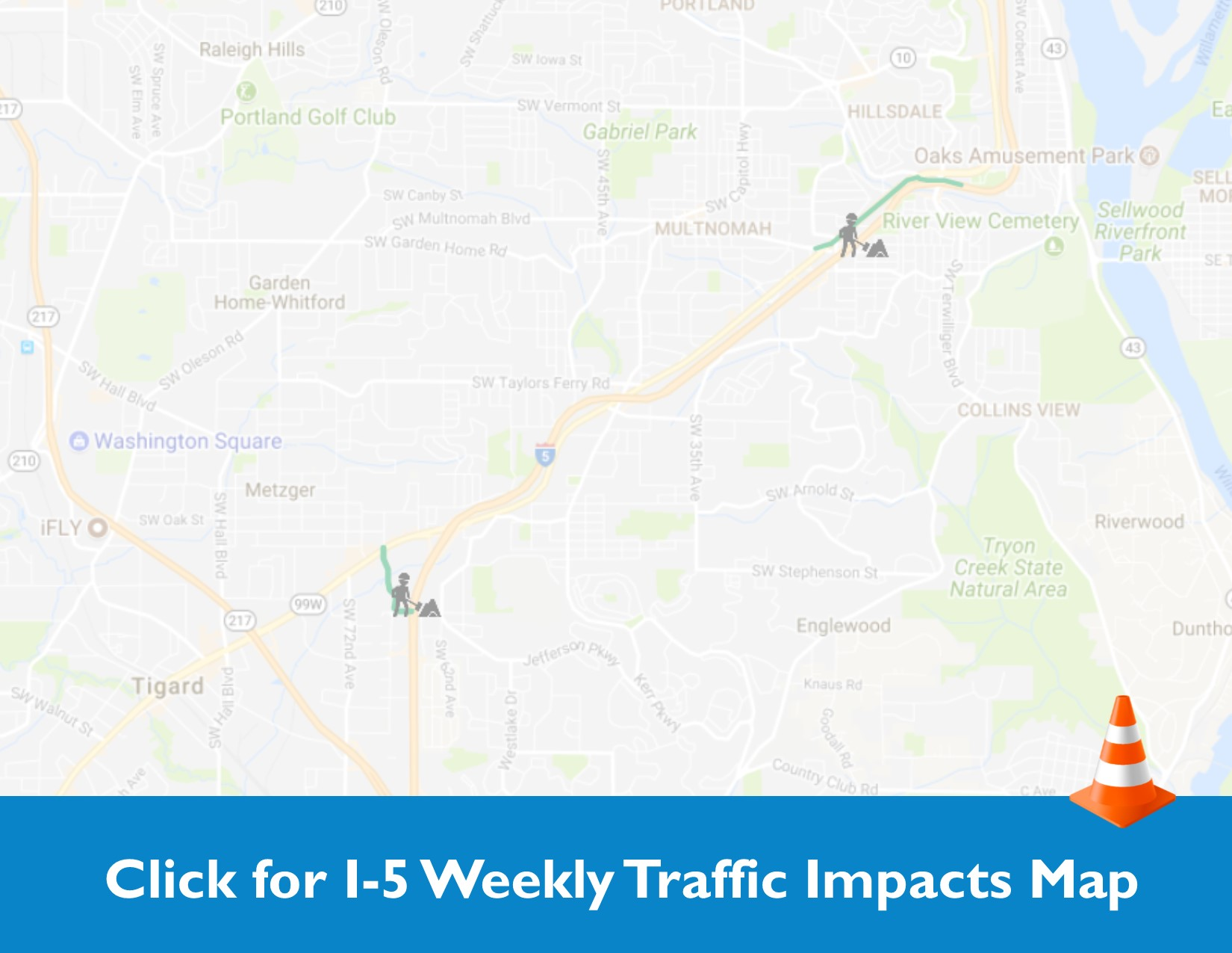 This is an interactive map showing the project area on I-5 and the weekly traffic impacts due to construction.