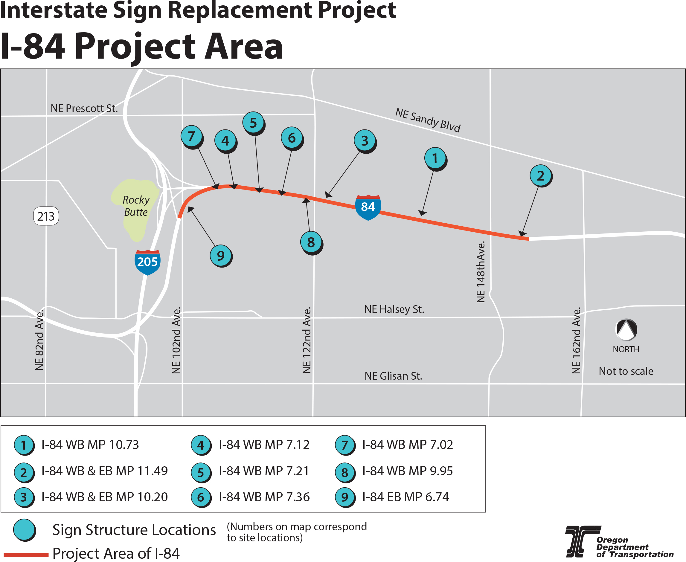 This is a map showing the project area and site locations where work will occur at different sites along I-84.