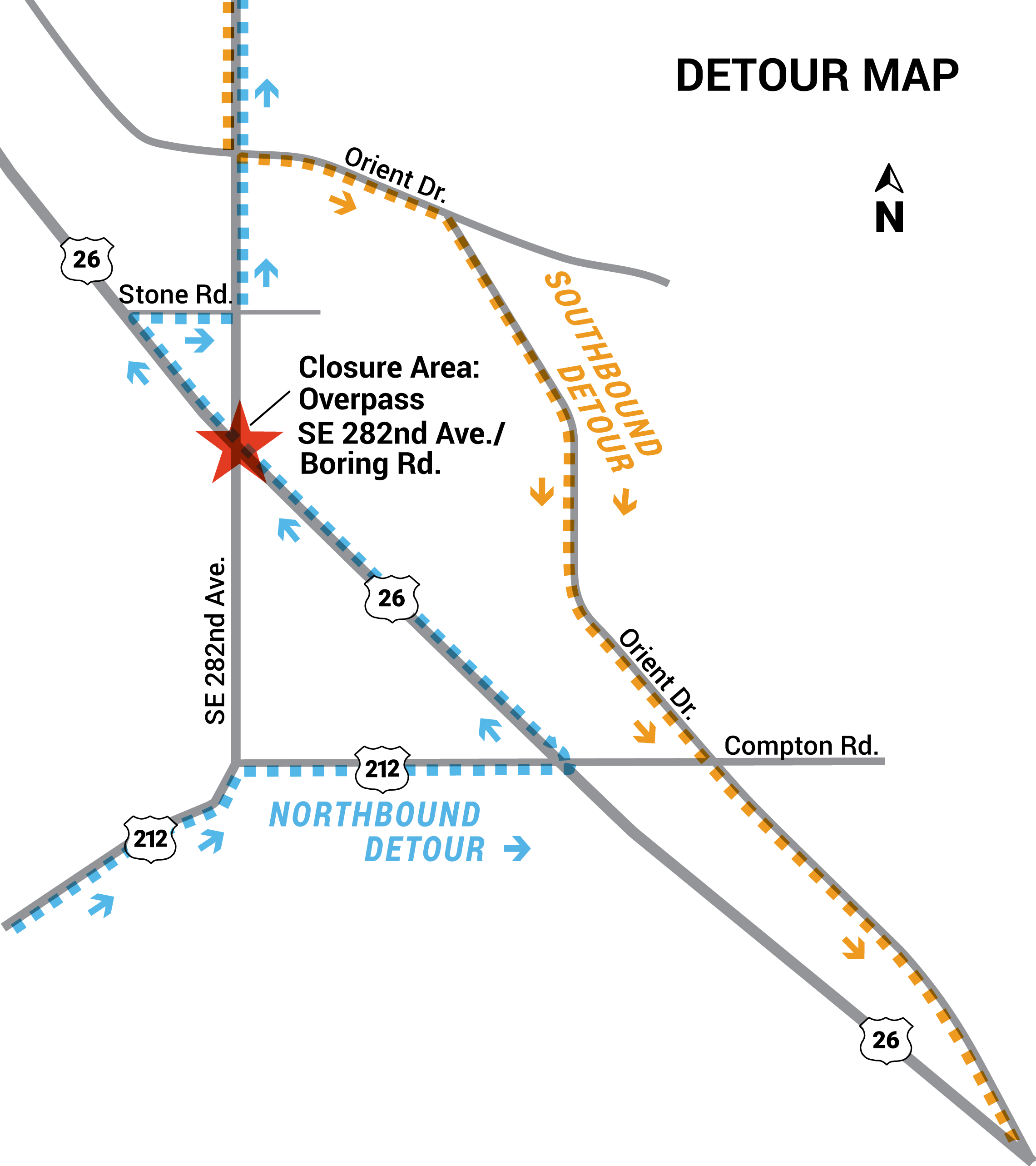 Southbound traffic should use Orient Drive to Compton Road. Northbound traffic should use Compton Road to U.S. 26 and Stone Road