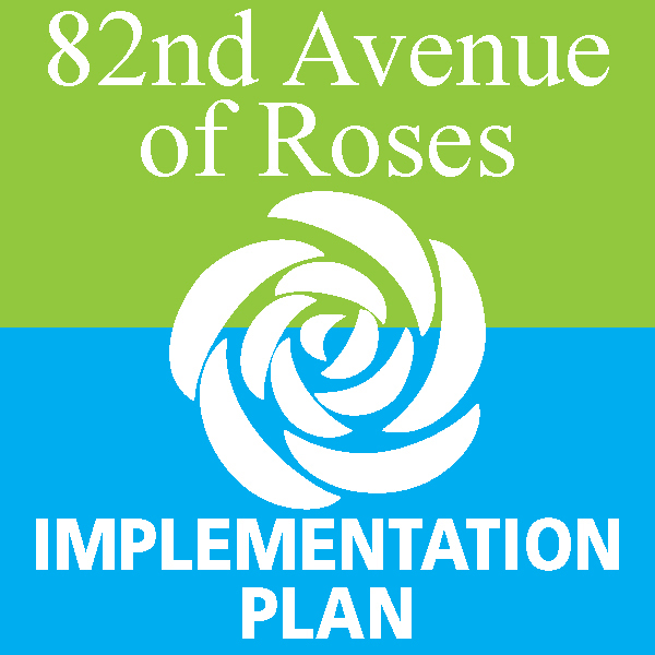 Logo for the 82nd Avenue of Roses Implementation Plan