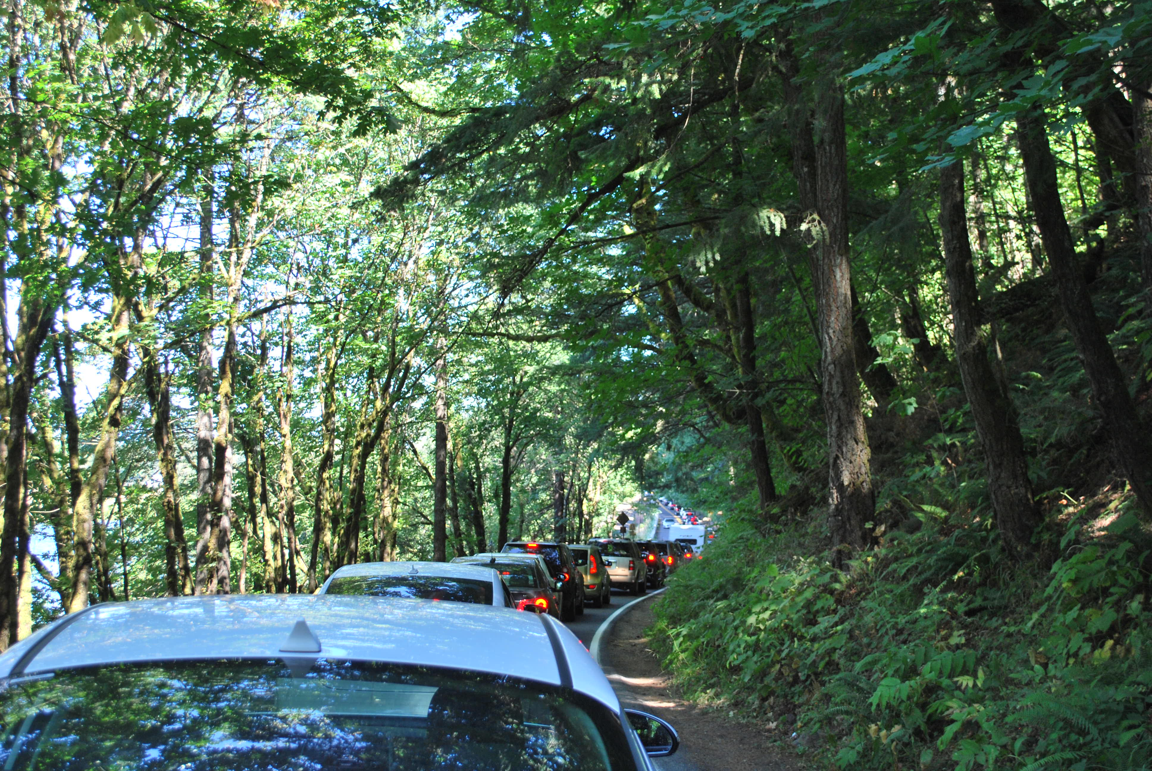Cars stuck in congestion line the Historic Highway.