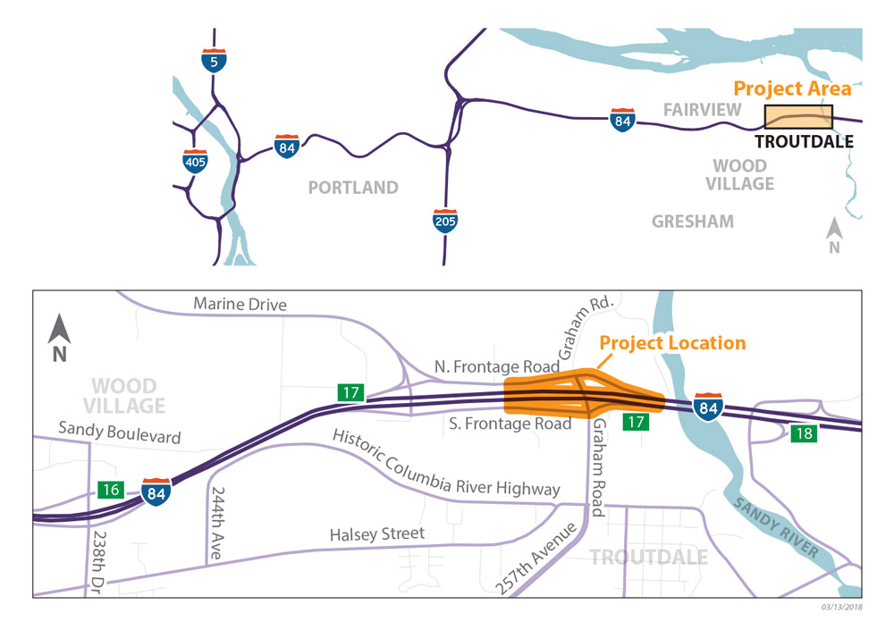 I-84 Graham Road Bridges Vicinity Map