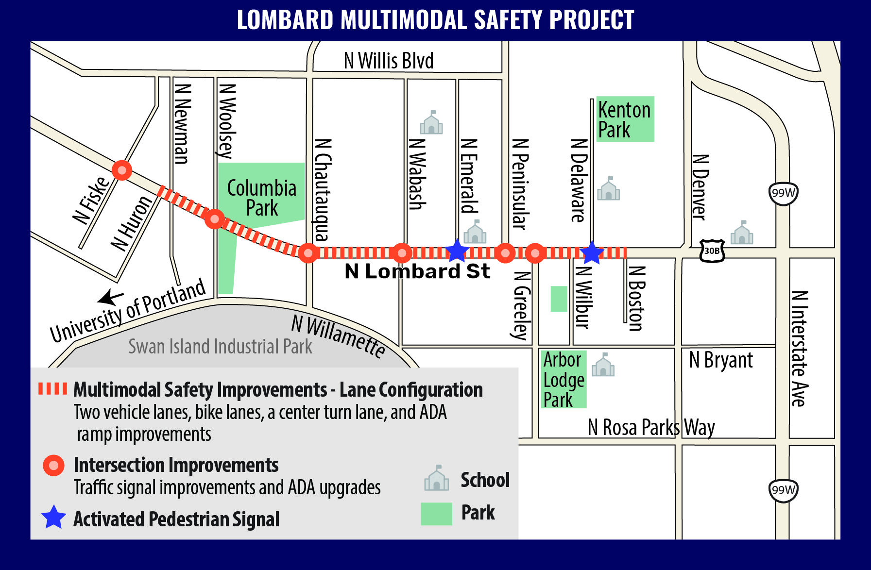 A map of the project area on N Lombard Street.