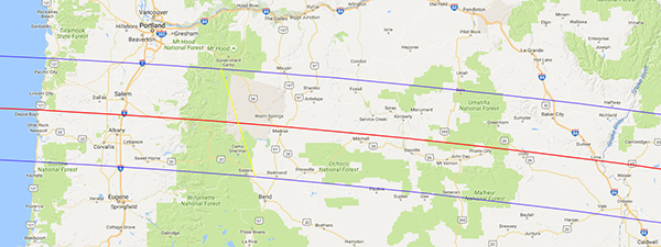 Map of eclipse path across Oregon