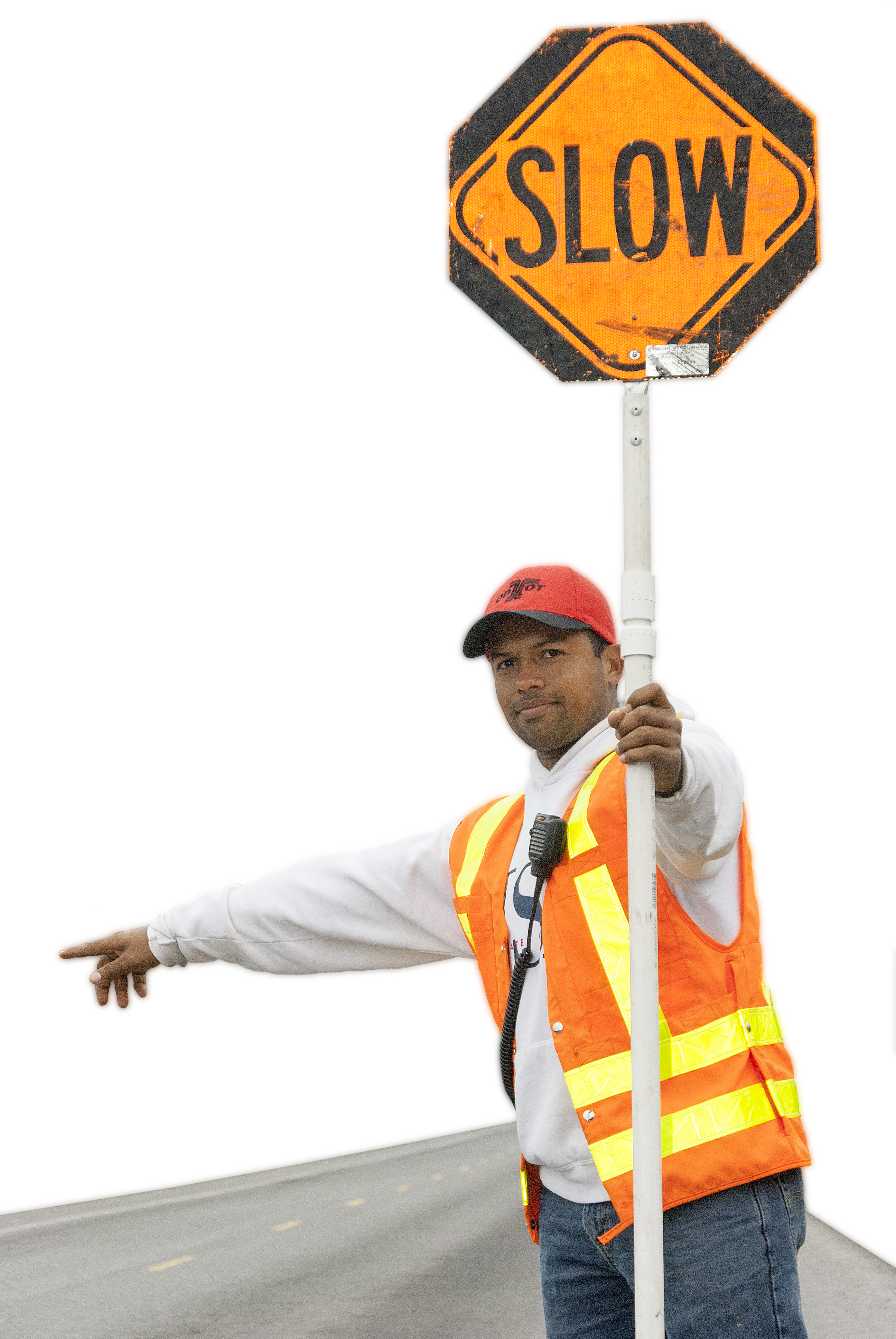 Flagger pointing holding slow sign