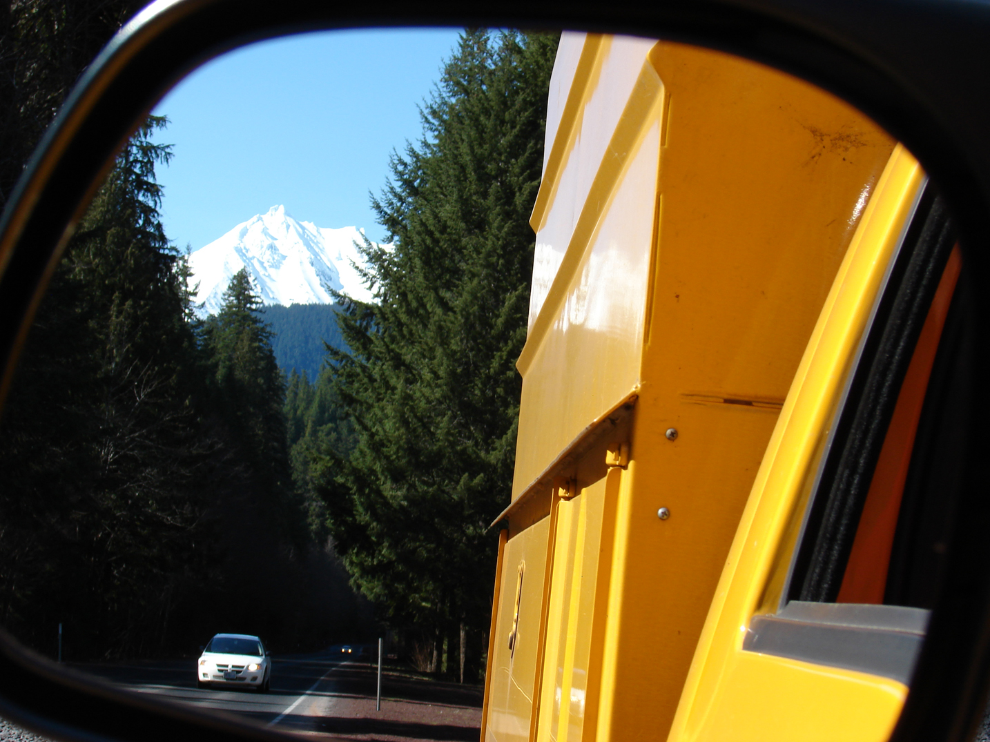 Mt. Jefferson reflected in a truck's mirror