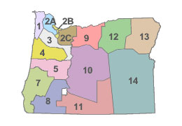 Map of ODOT Maintenance Districts