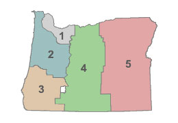 Oregon state map showing the five transportation regions