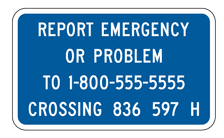 Sample Railroad Emergency Notification Sign