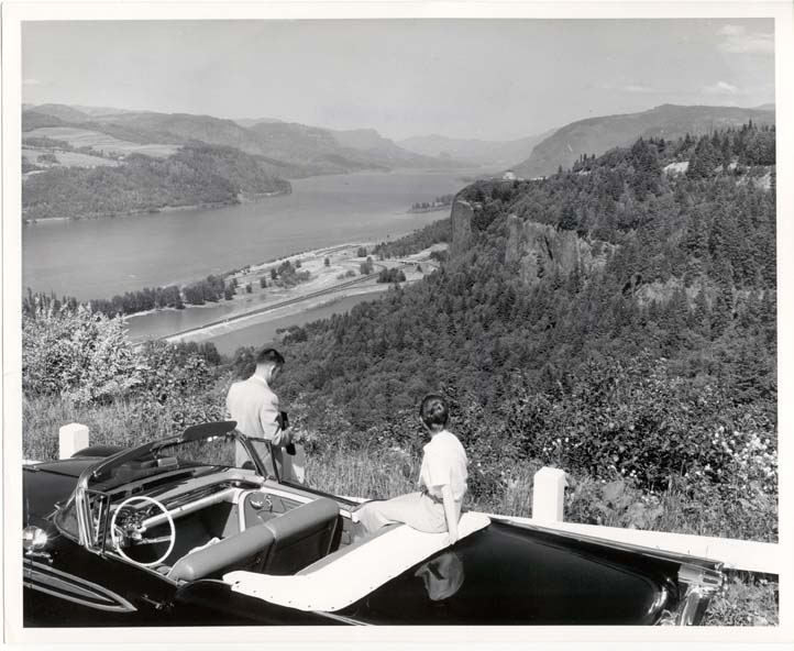 Old photo of tourist taking pictures of Crown Point