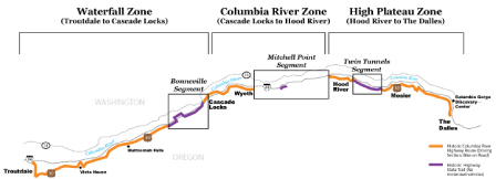 Small map of Historic Columbia River Highway Project Zones
