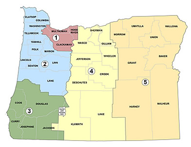 Map of Oregon Regions