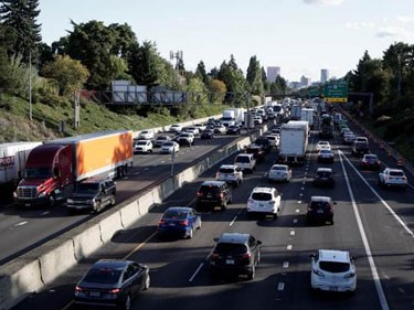 A photo shows traffic congestion on Interstate 5 in Portland.