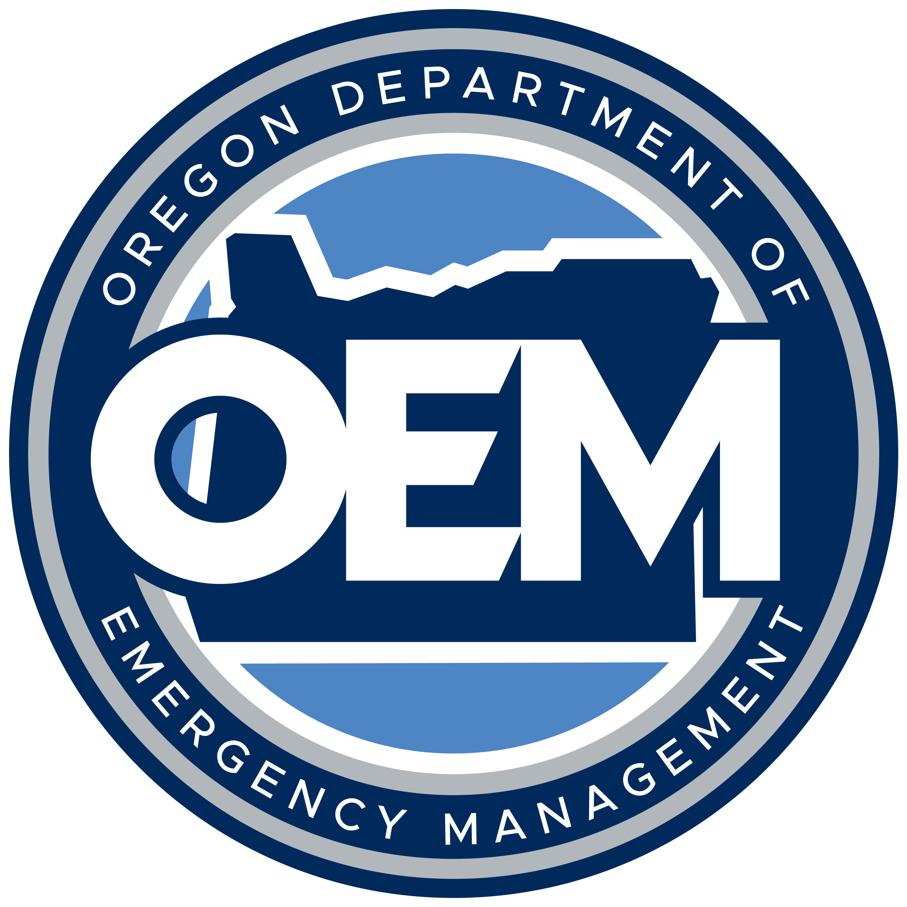 Oregon Emergency Management logo in navy, gold, blackm and white