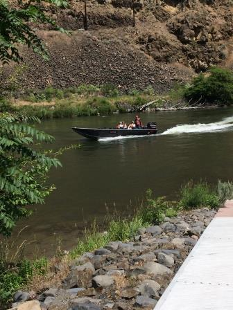 Motorboat on the Lower Deschutes at the Mack's Canyon Boat Ramp