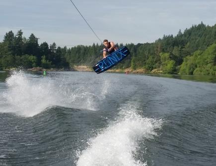 Image from boater Megan with a wakeboarder on the Willamette River