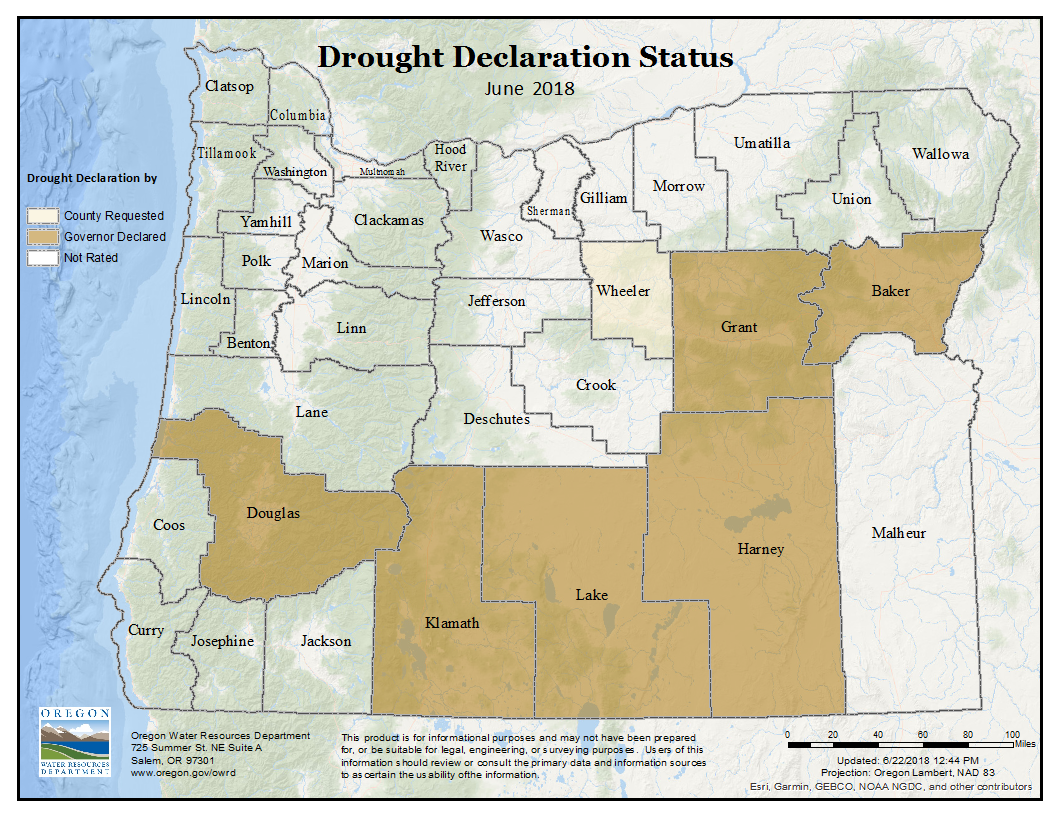2018 Drought Declaration Status Map of Oregon