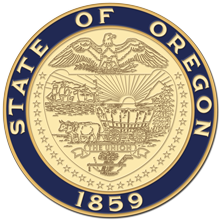 Oregon state seal in blue and gold