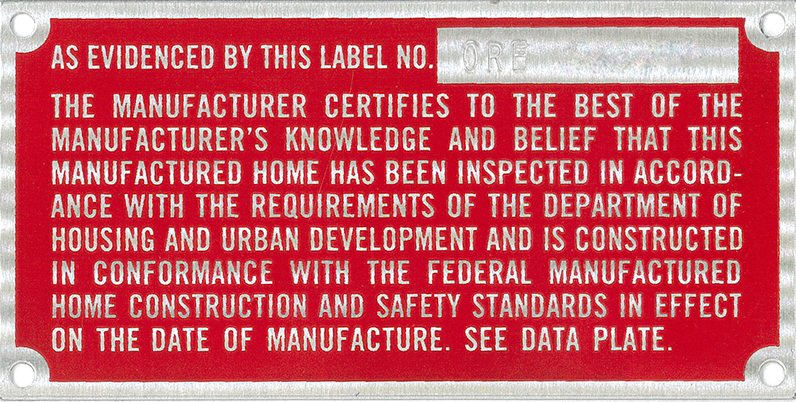 An example of an Oregon HUD certification label.