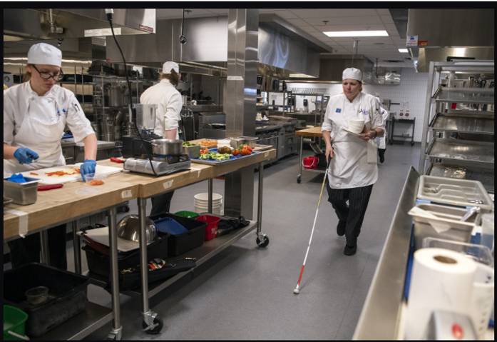 Clark student trains to become culinary instructor for the blind