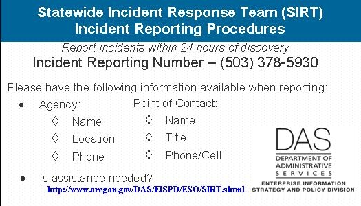 State of oregon oscio security incident response for Information security incident response plan template