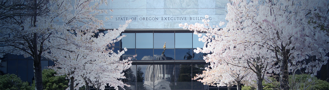 Executive Building in Salem, Oregon and ornamental cherry trees in bloom