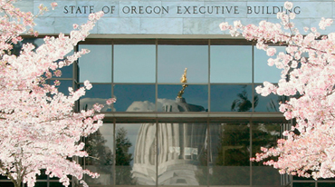 Executive Building in Salem, Oregon, and cherry trees in bloom