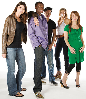 Standing group of teens